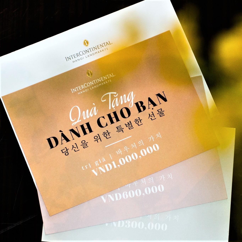 intercontinental hanoi dining gift card