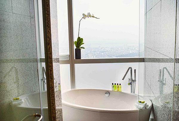 bathroom of luxury hotel suite in Hanoi