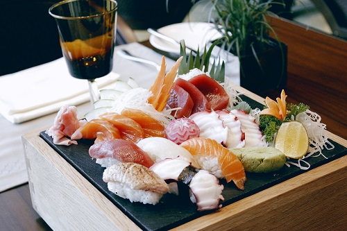 Authentic sushi and sashimi at a luxury restaurant at InterContinental Hanoi Landmark72, the tallest hotel in Hanoi